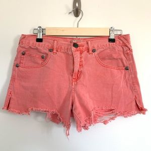 Free People Pink Destroyed Cutoff Shorts 27